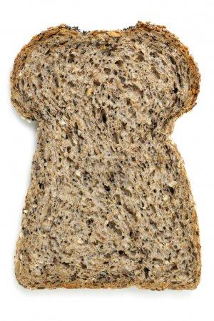 Slice of Seeded Bread Isolated on White