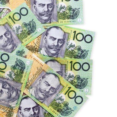 Australian one hundred dollar bills over white bac...