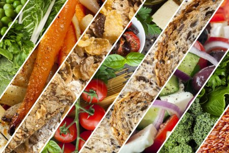 Photo for Collage of healthy foods.  Vegetables, grains, salads. - Royalty Free Image