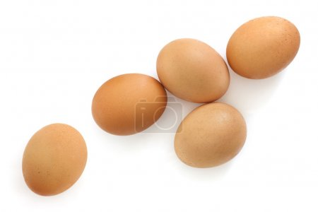 Brown Eggs Isolated on White Overhead View