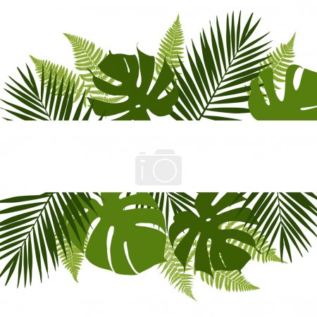 Illustration for Tropical leaves background with white banner. Palm,ferns,monsteras. Vector illustration - Royalty Free Image