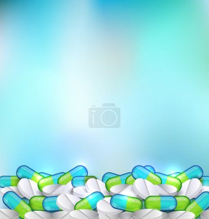 Pills blue abstract background