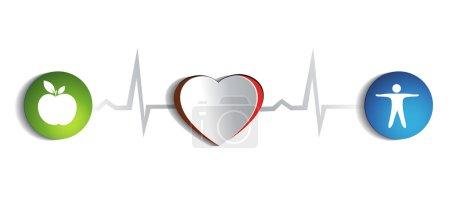 Illustration pour Coeur sain de papier et symboles de style de vie sain liés au rythme cardiaque normal - image libre de droit