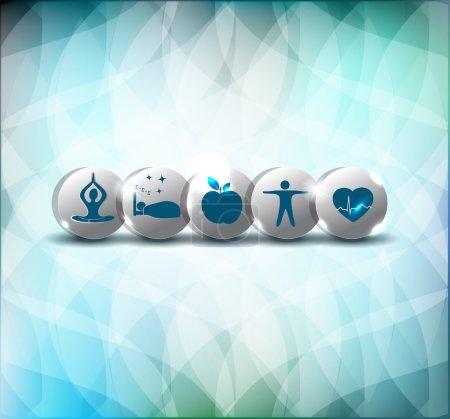 Illustration pour Mode de vie sain conseils symboles. Nourriture saine, forme physique, pas de stress et un bon sommeil conduit à un cœur sain et la vie . - image libre de droit