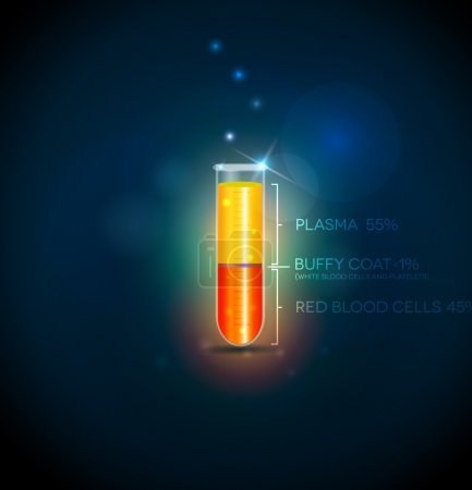 Illustration for Test tube with blood cells, plasma, buffy coat and red blood cells. Abstract dark blue background. - Royalty Free Image