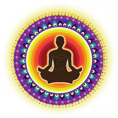 Illustration for Round circle icon for yoga lotus sitting posture - Royalty Free Image