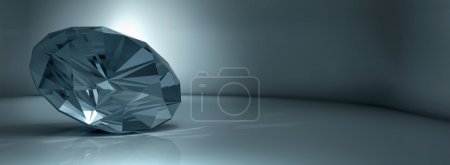 shining crystal diamond on a blue background