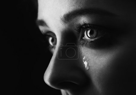 Photo for Beauty girl cry on black background (height contrast film monochrom edit) - Royalty Free Image