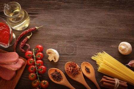 everything on wood table for the preparation of acute Italian sa