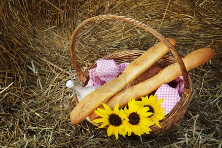basket of bread and milk