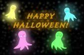 Halloween ghosts glowing in the dark in bright colors and magic glitter, with text Happy Halloween