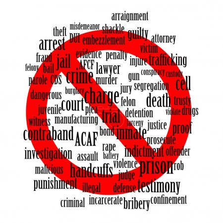 Don't do it - a conceptual word cloud of crime and jail related words with a red stop sign