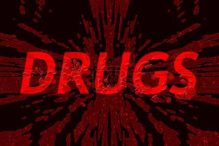 Photo pour Drogues sur fond brisé, avec éclaboussures de sang au-dessus - concept de dangers de l'abus de drogues - image libre de droit