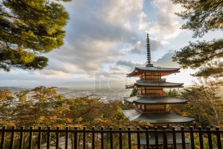Red Pagoda And Japan Mount Fuji