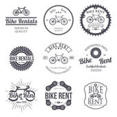 Bike rent Set of vintage modern and retro logo badges and labels Vector