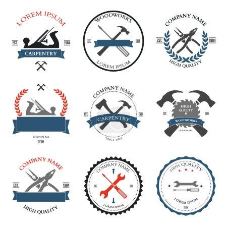 Illustration pour Outils de menuiserie vintage, étiquettes et éléments de design. Illustration vectorielle - image libre de droit