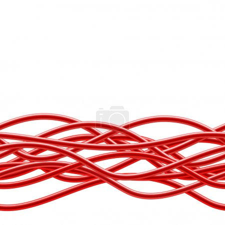 Red Cables. Seamless Background. Vector