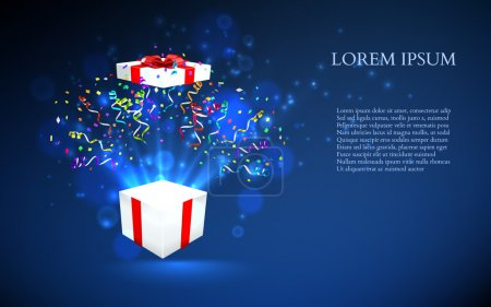 Illustration for Open gift with fireworks from confetti. vector background - Royalty Free Image