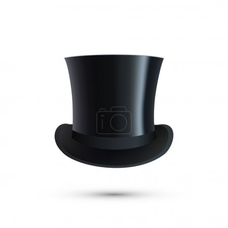 Illustration for Black Top Hat isolated on white. Vector illustration - Royalty Free Image