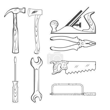 Illustration pour Scie vectorielle de style vintage, marteau, clé et autres outils à main pour la construction - image libre de droit
