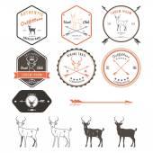 Set of vintage deer icons