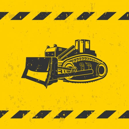 Bulldozer illustration on yellow background