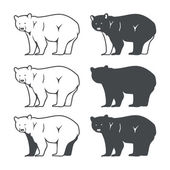 Set of Six Bear Silhouette Vector illustration