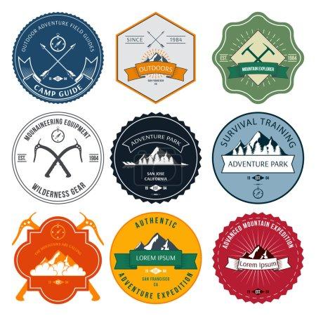 Camping mountain adventure hiking explorer equipment labels set