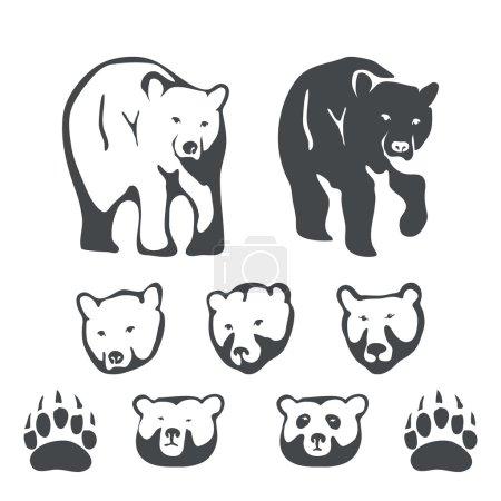 Set of bears emblems