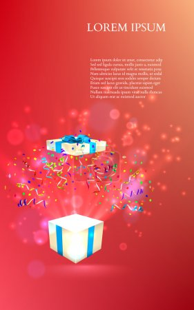 Illustration for Open gift with fireworks from confetti. vector - Royalty Free Image