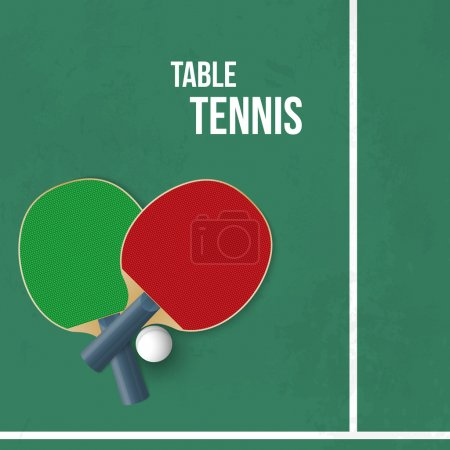 Two rackets for playing table tennis. Vector