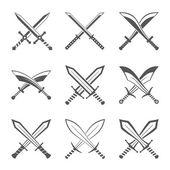Sada heraldický štíty a meče a Buffalo sabres