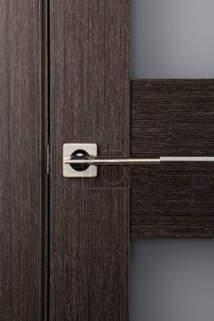 The door leaf with a metal handle, close-up
