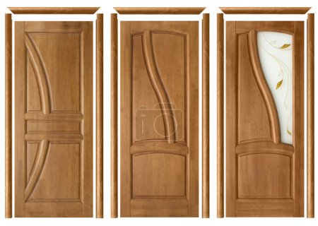 Photo pour Collage of three interior doors with trims on an isolated background - image libre de droit