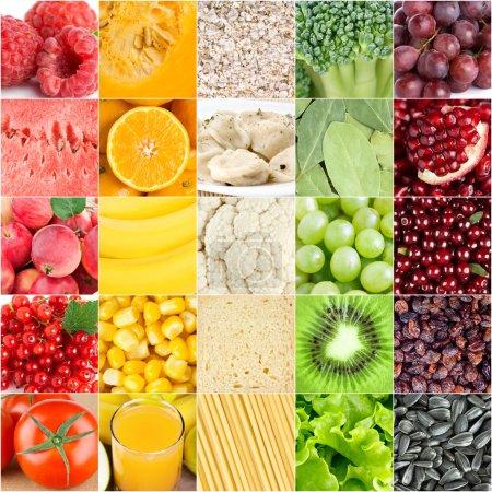 Foto de Fondo de alimentos saludables. Colección con color diferente frutas, bayas, verduras y diferentes alimentos frescos - Imagen libre de derechos