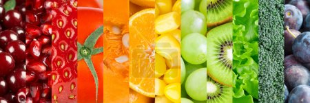 Photo for Healthy food background. Collection with different fruits, berries and vegetables - Royalty Free Image