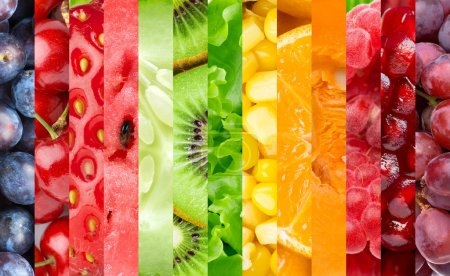 Photo for Healthy food background. Collection with color fruits, berries and vegetables - Royalty Free Image