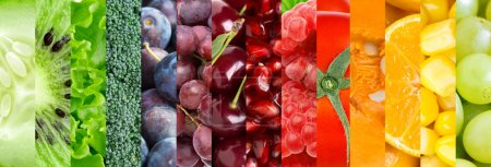 Photo for Fresh fruit and vegetable background. Collection with different fruits, berries and vegetables - Royalty Free Image