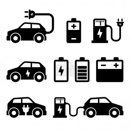 Electric Car Icons Set on White Background. Vector