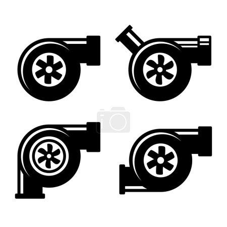 Illustration pour Icônes de turbocompresseur ensemble isolé sur un fond blanc. Illustration vectorielle - image libre de droit