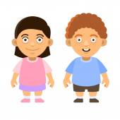 Two Carroon Style Cute Kids Boy and Girl on White Background Vector