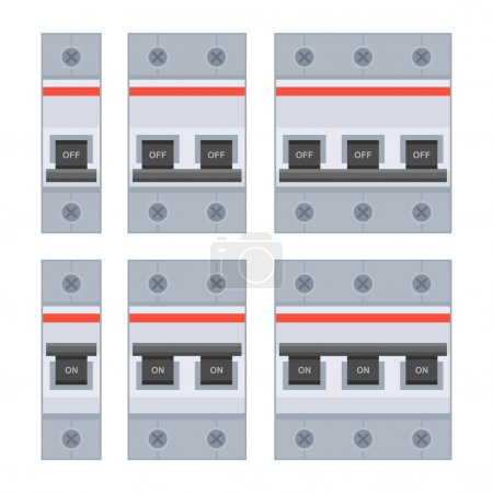 Circuit Breakers Set on White Background. Vector i...
