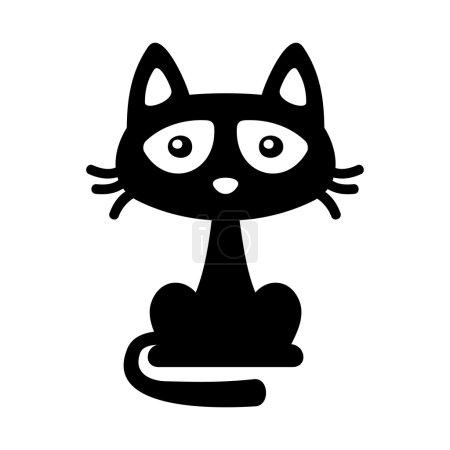Little Black Cat Icon. Cartoon Style Halloween Illustration. Vector