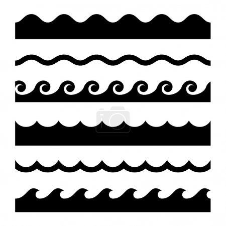 Illustration for Seamless Wave Pattern Set. Vector Template Illustration - Royalty Free Image