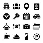 Hotel Icons Set on White Background Vector