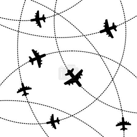 Illustration pour Avions fond blanc avec trajectoire. Illustration vectorielle - image libre de droit