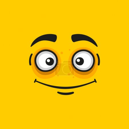 Cartoon Smile Face on Orange Background. Vector