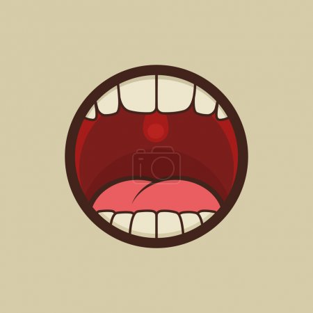 Illustration for Open Mouth with Teeth and Tongue Vector illustration - Royalty Free Image