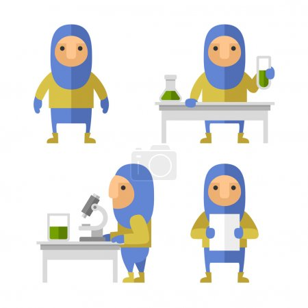 Set of Scientist Characters in Lab. Vector Flat Style