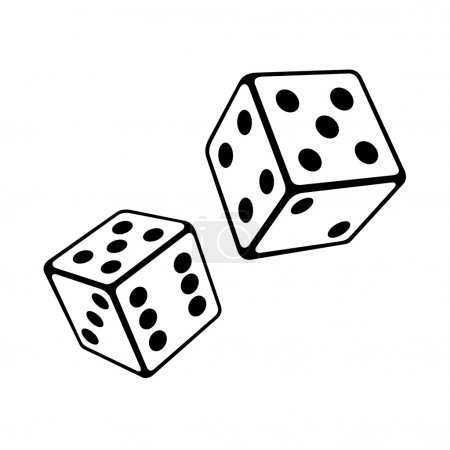 Illustration for Two Dice Cubes on White Background. Vector Illustrations - Royalty Free Image